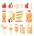red apple and fresh juice flat elements vector image vector image