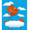 red poppy card with clouds vector image