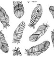 seamless pattern black and white feathers vector image