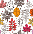 Seamless Pattern Of Patterned Autumn Leaves vector image vector image