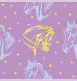 seamless purple pattern with horses vector image