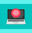 security protection via touch fingerprint or vector image vector image