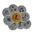 set gold and silver crypto currencies vector image vector image