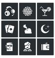 Set of Night Club Icons Music Lighting vector image vector image