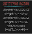 sketch font decorative latin alphabet type set vector image