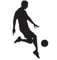 Soccer player kicking ball vector image