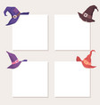 spooky witch hat on white card corner - set of vector image vector image