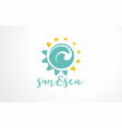 sun or sea water aqua abstract waves swirl logo vector image