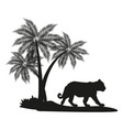 tiger witj palm tree black silhouette vector image vector image