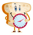 time bread on white background vector image vector image