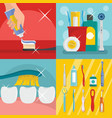 toothbrush dental banner concept set flat style vector image