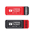 two cinema tickets on white vector image vector image