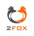 two head fox logo vector image vector image