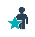 user profile with star colored icon star rating vector image vector image