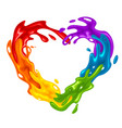 vibrant heart-shaped splash in lgbt colors vector image vector image