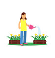 cute brunette young girl character watering vector image
