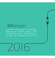2016 - new year abstract line with wire plug and vector image vector image