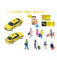 a large set isomeric images a taxi car vector image vector image
