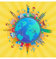 around the world - flat design travel composition vector image vector image