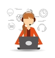avatar girl orange jacket contact us information vector image vector image