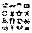 Beach and vacation set icon collection vector image vector image