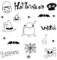 Black white element halloween in doodle vector image vector image