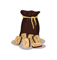 brown bag and wooden magic runes for future vector image vector image