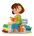 child sitting with a lot of books in the library vector image