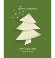 Christmas tree white isolated origami vector image vector image