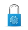 Closed blue realistic lock with fingerprint vector image
