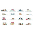 collection facades different residential vector image
