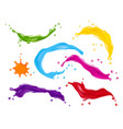 color splashes paint drops set realistic vector image