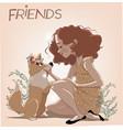 cute cartoon summer girl with a dog vector image