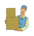 delivery man with big box vector image