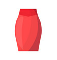 elegant classic bright red skirt with high waist vector image