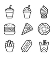 Fast food contour icon set vector image vector image