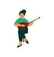 female musician playing domra musical instrument vector image vector image