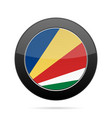 flag of seychelles shiny black round button vector image vector image