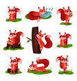 flat set of cartoon squirrel in different vector image