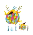 Funny bird family mother and nestling egg kid vector image vector image