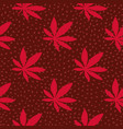 ganja hand drawn seamless pattern maroon vector image vector image