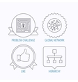Global network like and hierarchy icons vector image vector image