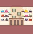 handbags store color card vector image