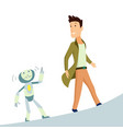 human and robot concept of interaction with vector image vector image