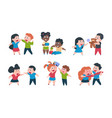 kids behavior cartoon brother and sister fight vector image vector image