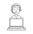 laptop with call center man agent vector image vector image