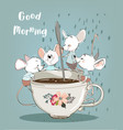 little mouses with coffee cup vector image