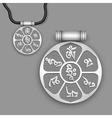 Mantra Om Mani Padme Hum on silver pendant vector image