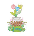 metal bucket with flowers with bush vector image