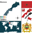 Morocco map world vector image vector image